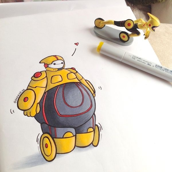 Baymax Dressed Up As Other Disney Characters Nerddom - Baymax imagined famous disney characters