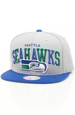 3dff31be3650d6 Seattle Seahawks NFL Throwbacks Arch W/ Vintage Logo Tri-Pop Snapback Hat  by Mitchell