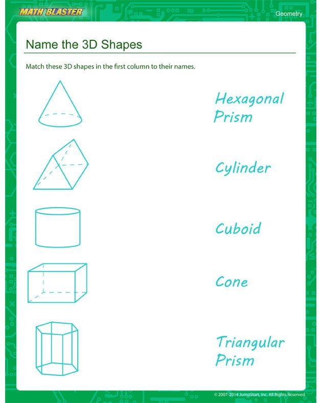 Name the 3D Shapes - Second Grade Geometry worksheet | math | Pinterest