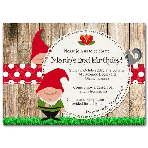 gnome birthday party invitation etsy pinterest birthday party