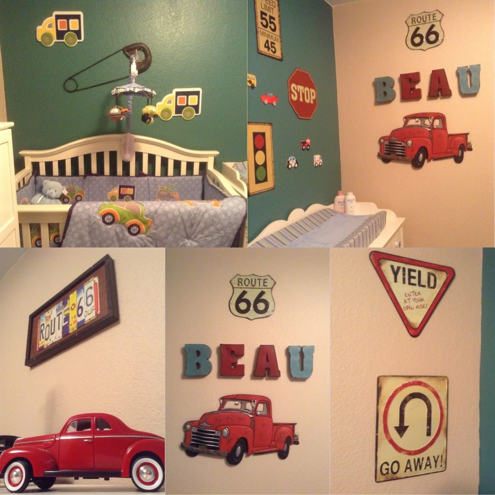 Car theme nursery for my son! It has a vintage touch and