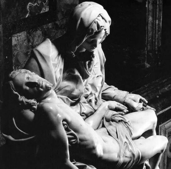 La Pietà-Carved from a single block of white Carrara marble it took the 24-yeard old Michelangelo less than two years complete (1498-1499)