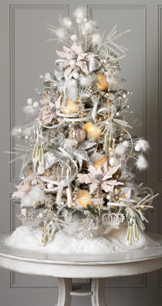 Ideas how to decorate tabletop christmas trees (10 Tabletop - white christmas tree decorations
