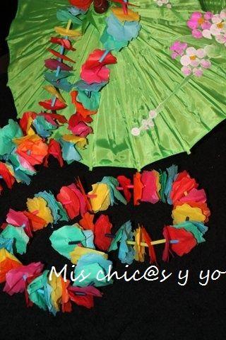 Collar hawaiano o lei realizado con papel de seda de - Manualidades con papel de colores ...