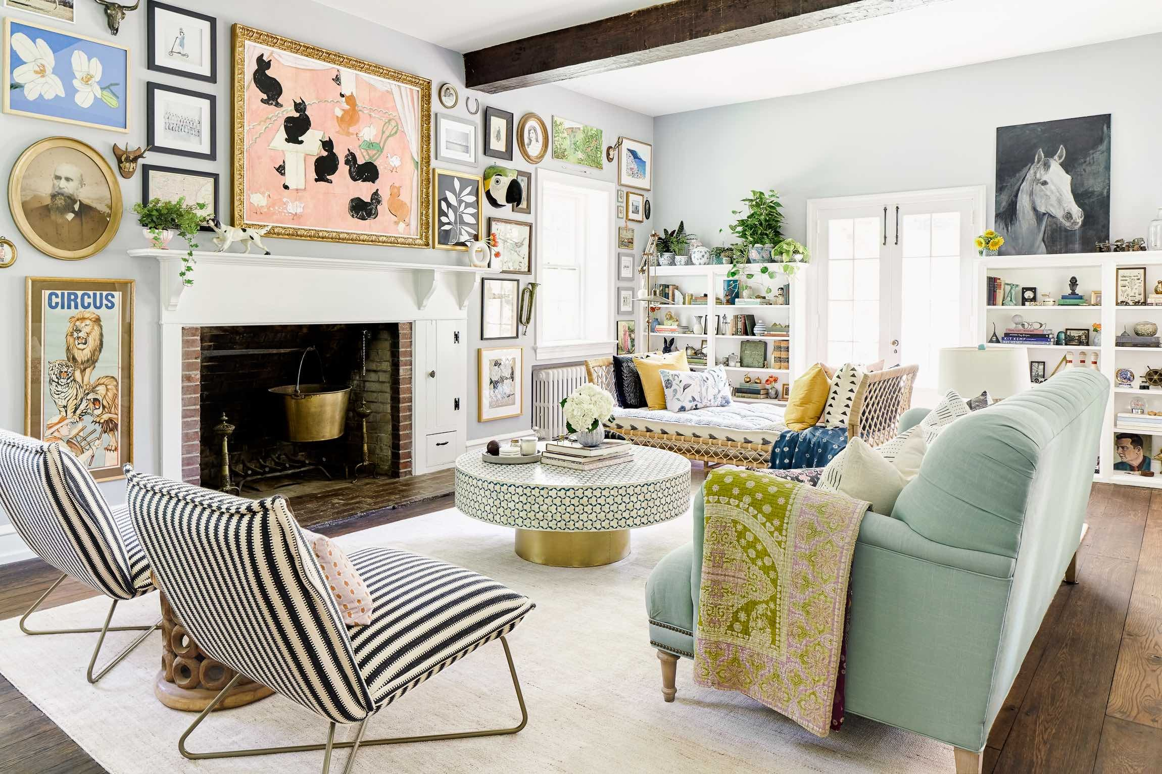 talk about a gallery wall! Anthropologie living room