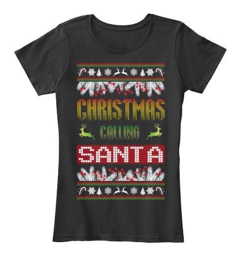 Christmas Calling Santa Black Women's T-Shirt Front