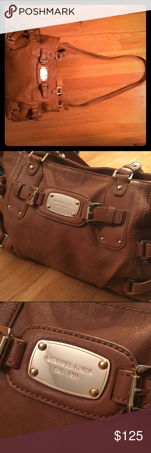 Michael Kors leather satchel Keep your look sleek and sophisticated from the office to afterhours with this polished satchel. Perfect shade of brown leather with a strap so you can wear it as a crossbody purse. This leather satchel is the perfect balance of modern and classic appeal! Almost new. Excellent shape. Used it only couple times! Michael Kors Bags Satchels