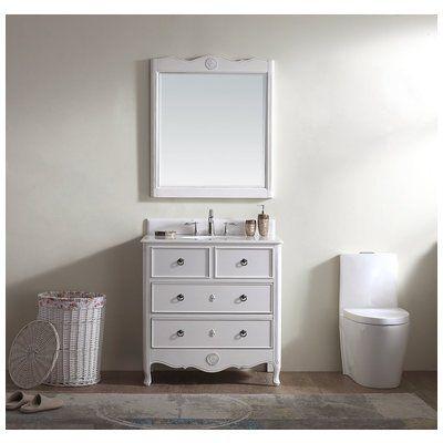 modetti provence 34 single bathroom vanity set with mirror in white rh pinterest com