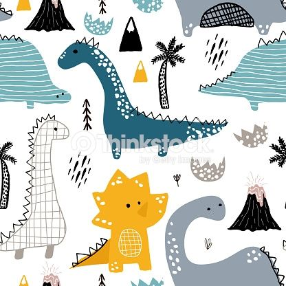 Childish seamless pattern with hand drawn dino in scandinavian style.... #dinosaurillustration