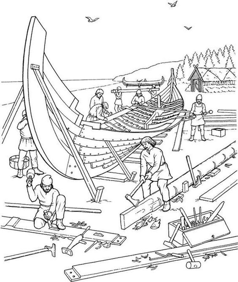 Viking Coloring Pages For Adults : Realistic traditional viking shipyard hard coloring pages