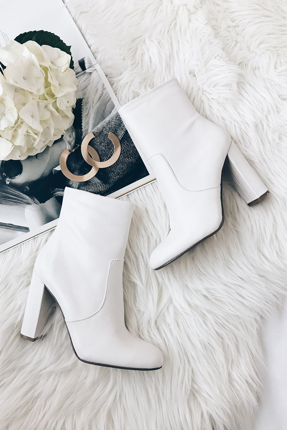 Editor White Leather Mid-Calf Boots #shoeboots