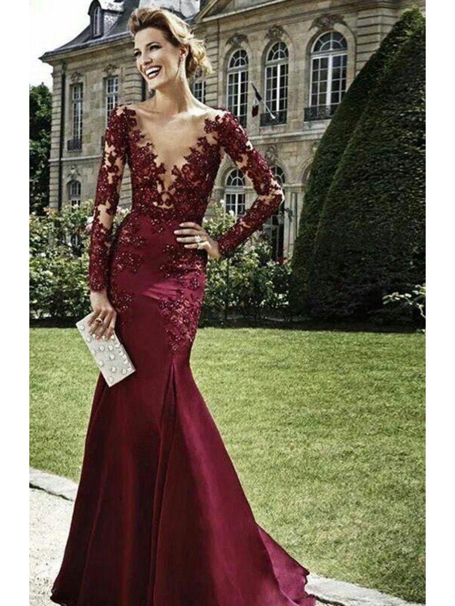 Mermaid long sleeves vneck lace prom formal evening dresses