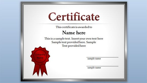 Free editable certificate template for PowerPoint presentations