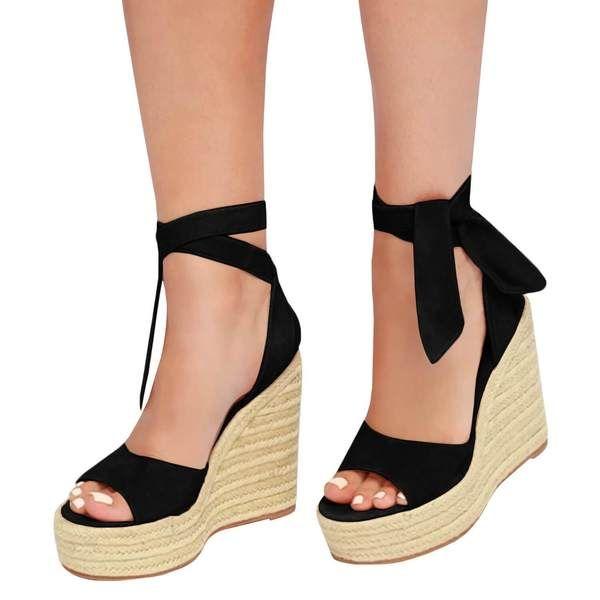 b2b0ef527a4 Amazon.com | Syktkmx Womens Lace Up Platform Wedge Espadrille Heel ...
