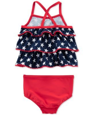 Carter S 2 Pc Tankini Swim Suit Baby Girls Blue 6 Months Baby Girl Swimwear American Flag Swimsuit Baby Girl Swimsuit