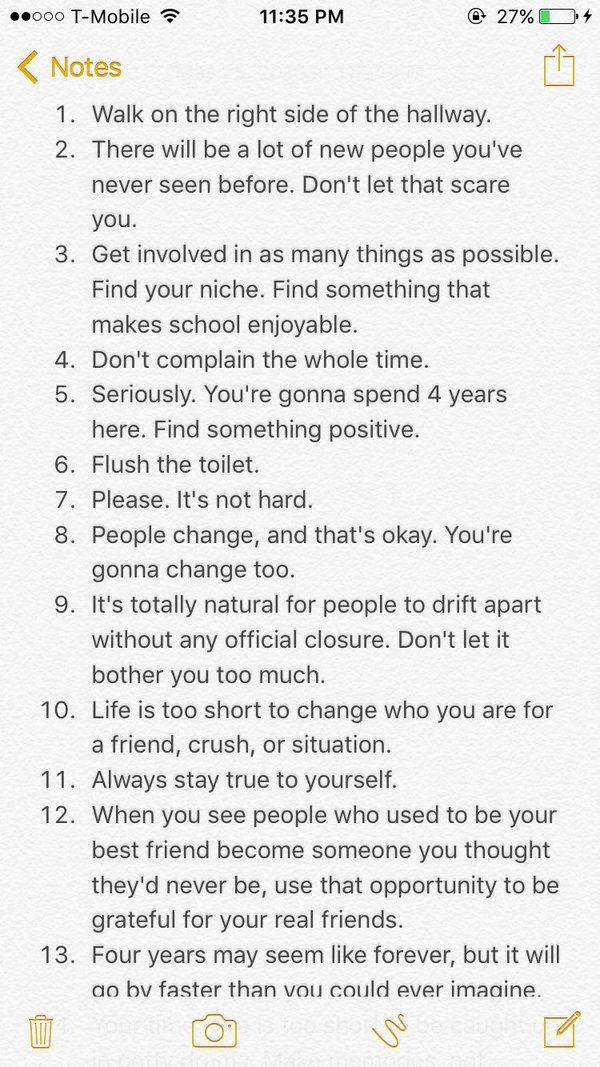 advice for freshmen