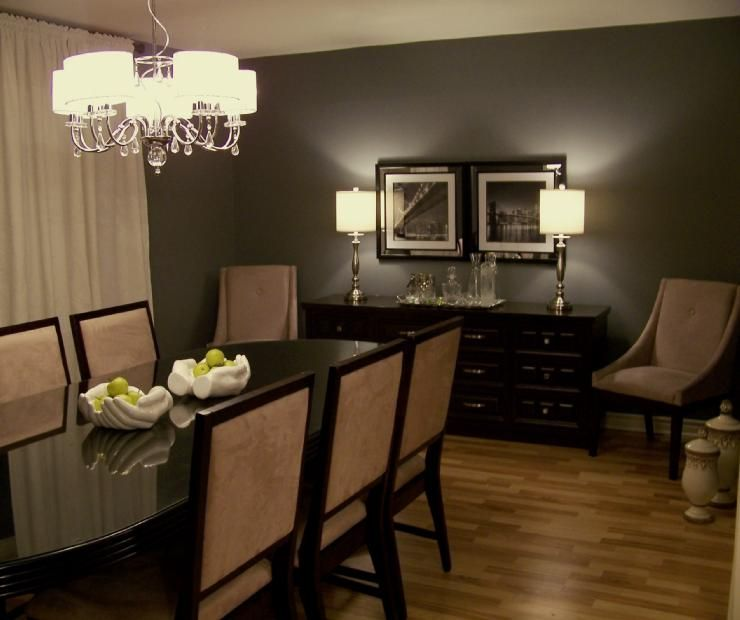 Dining Room Colors: Dark Gray Walls + Cream Colored Curtains.