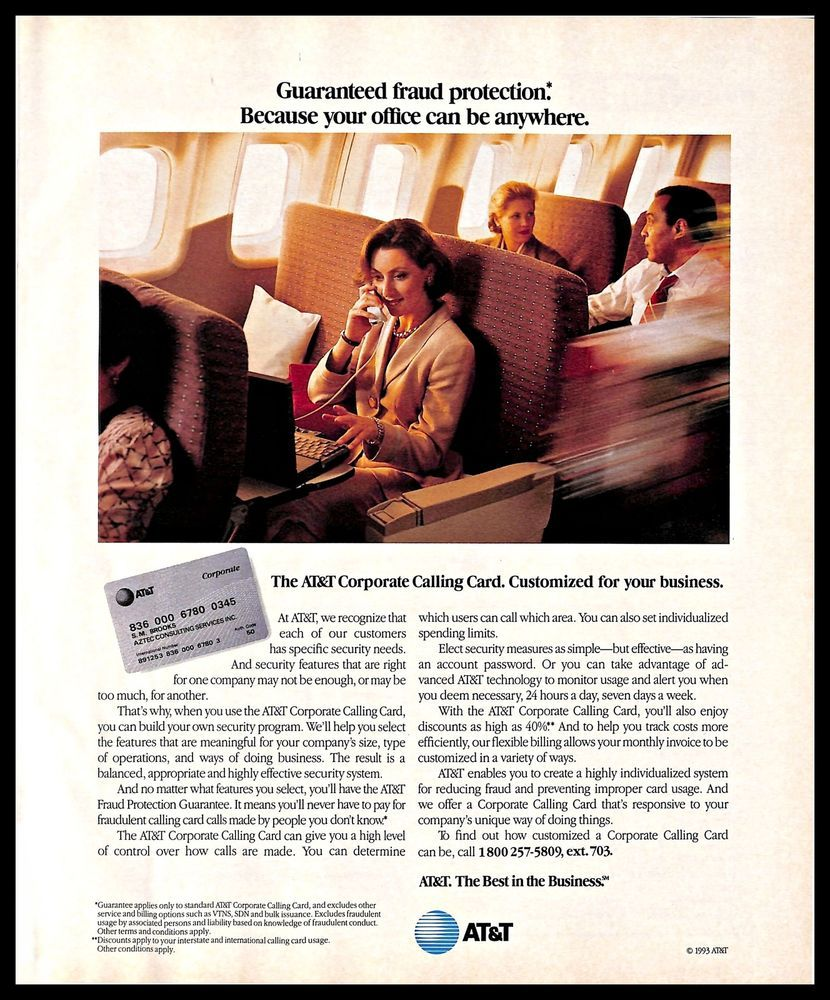 Details About 1993 At T Corporate Calling Card Vintage Print Ad Business Woman Plane 1990s Calling Cards Print Ads 1990s