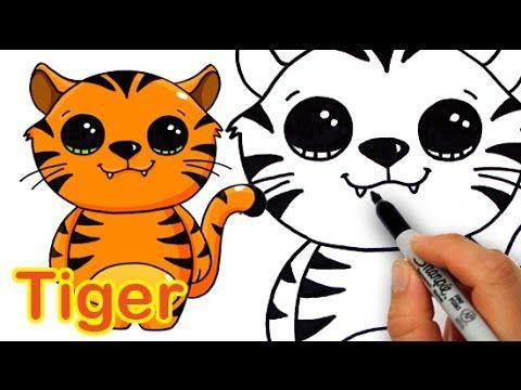 How To Draw A Cute Cartoon Tiger Easy Cartoon Tiger Kawaii Drawings Cute Drawings