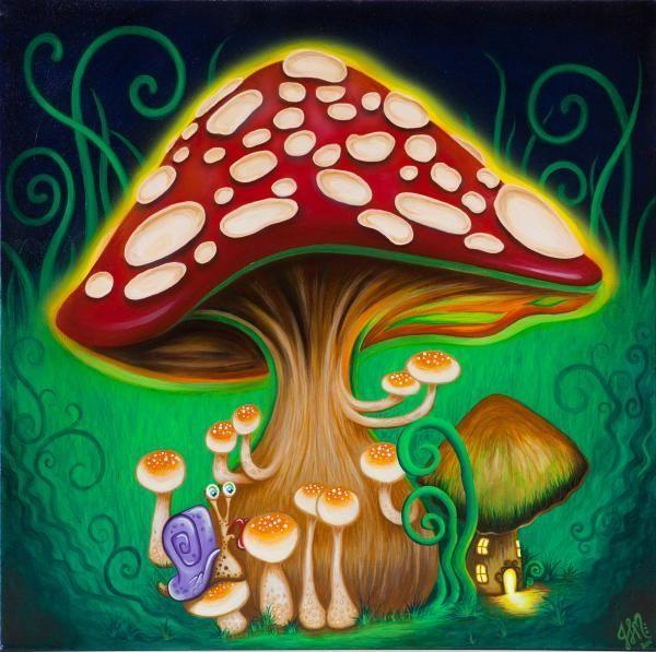 Для телефона, грибы живые рисунок