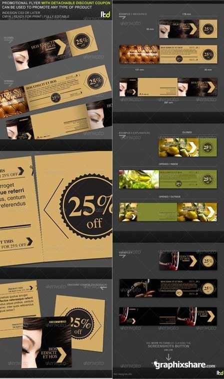 GraphicRiver Promotional Flyer With Detachable Discount Coupon Template  Coupon Flyer Template
