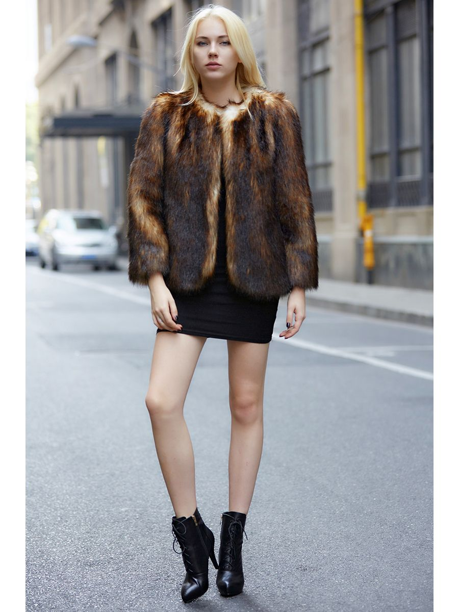 Women's Dark Coffee Faux Fox Fur Collar-Free Short Coat - Fur Clothes