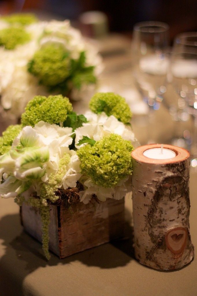 White hydrangea, green viburnum, hanging amaranthus and tulips in a birch covered vases