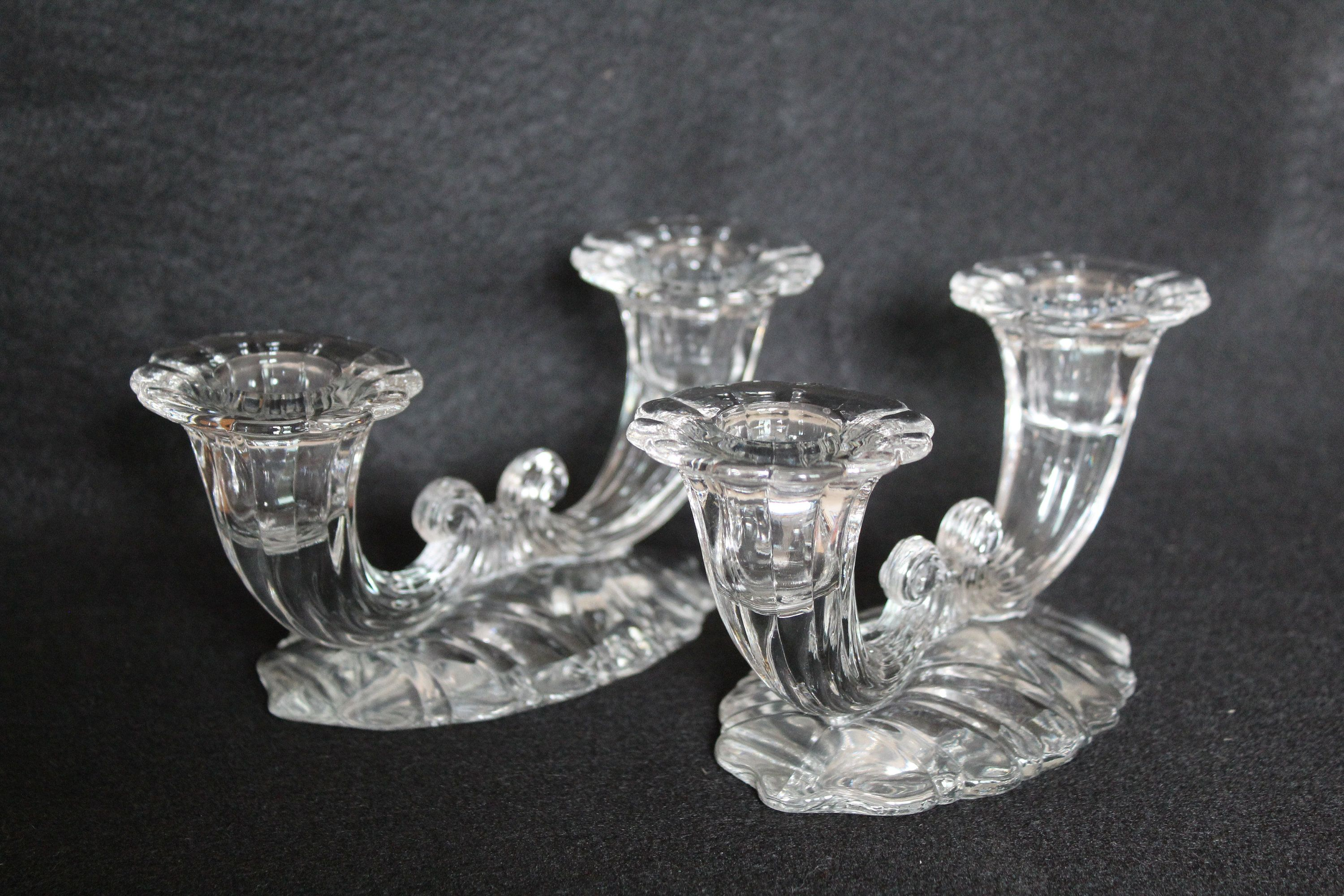 Pressed Clear Glass Vintage Diamond Point Pattern Candlestick Holder Excellent Condition
