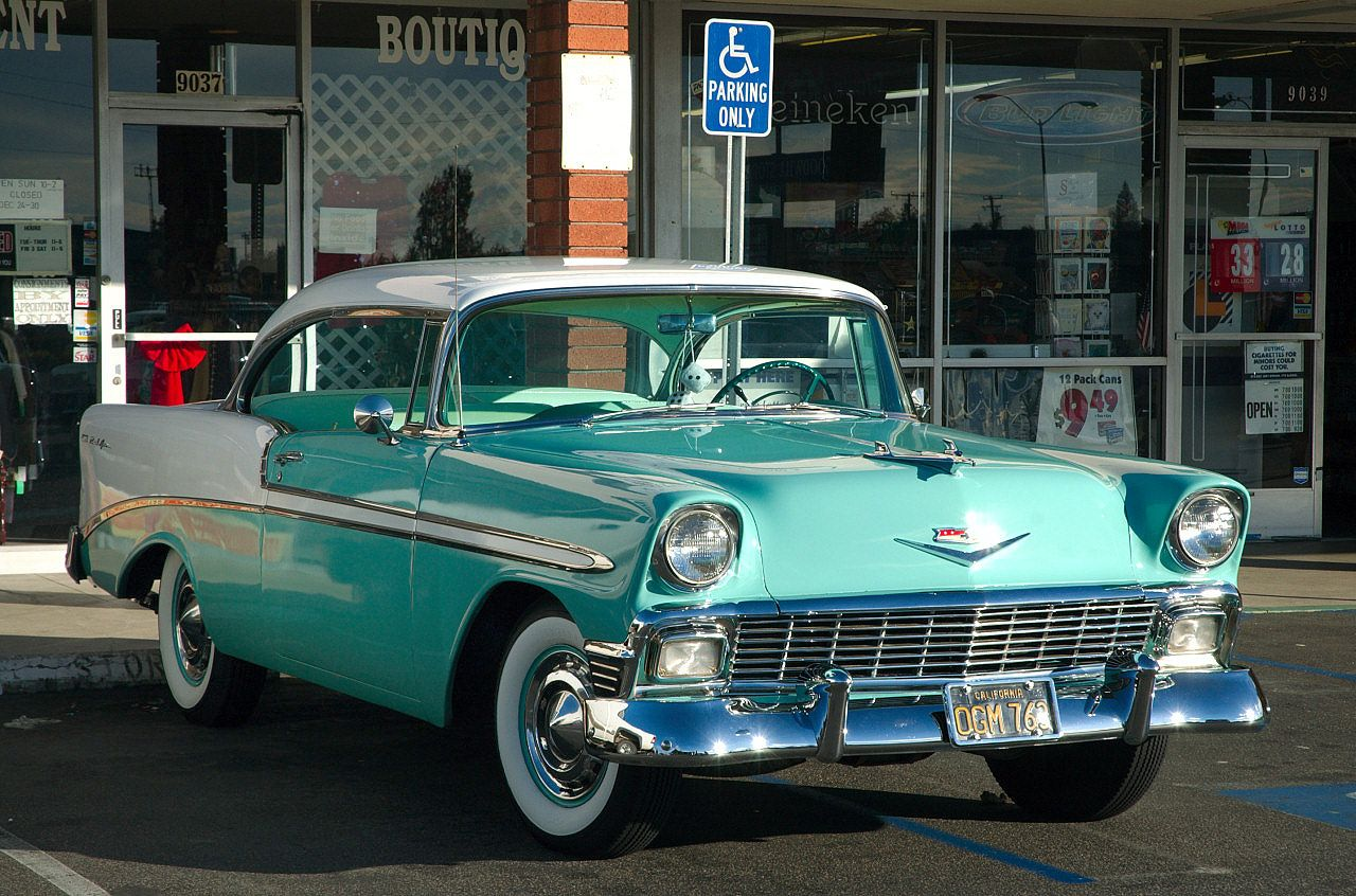 1956 chevrolet bel air sport coupe white pinecrest green