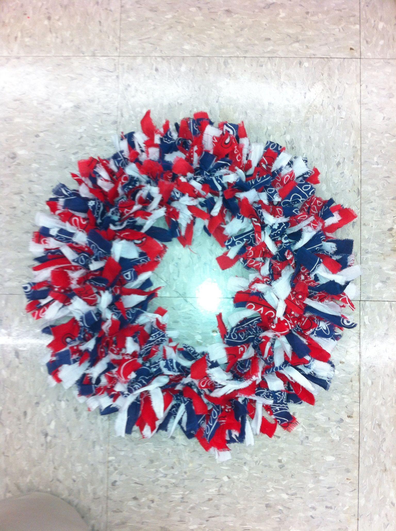Bandana wreath by Sonya and Allie. Wire wreath frame and bandanas ...