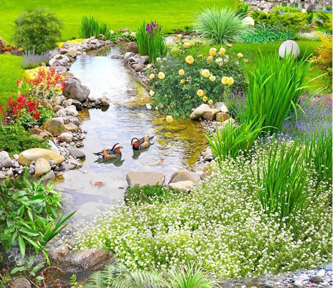Backyard Ponds Builders In Kochi: 3D Fresh Stream Floor Mural