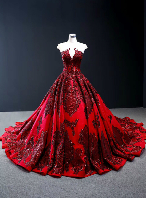 Burgundy Ball Gown Satin Sequins Appliques Cap Sleeve Prom Dress With Long Train