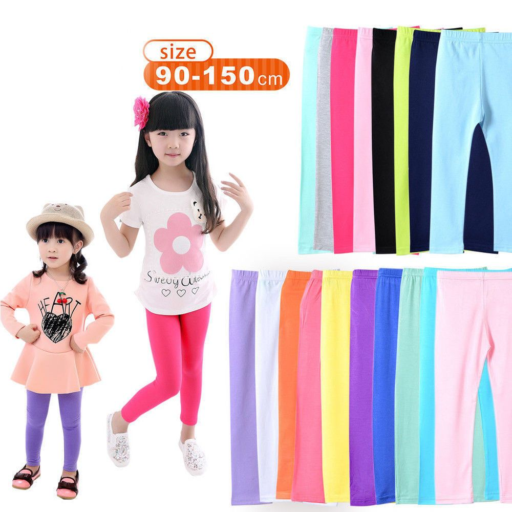 Kids Girls Fashion Cotton Soft Length Leggings Solid Candy Color Pants Trousers