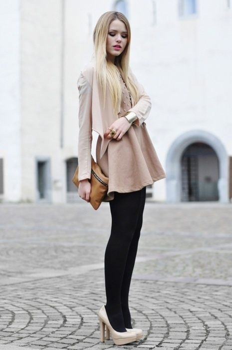This Is How You Wear A Different Color Heel With A Black Tight  Self Fashion  Fashion, Style, Nude Shoes-6086