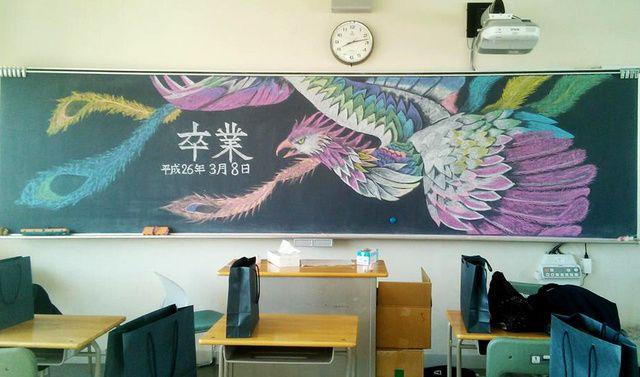 旅立つ君に黒板アートを 卒業生へのメッセージあれこれ 朝日新聞デジタル 黒板アート 卒業式 イラスト 黒板