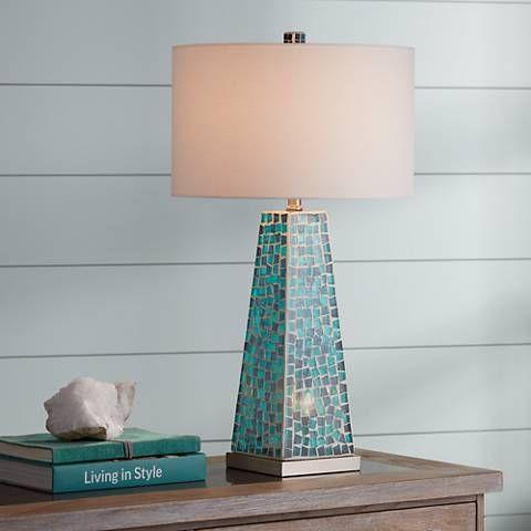 Possini Euro Lorin Blue Mosaic Nightlight Table Lamp 1r029