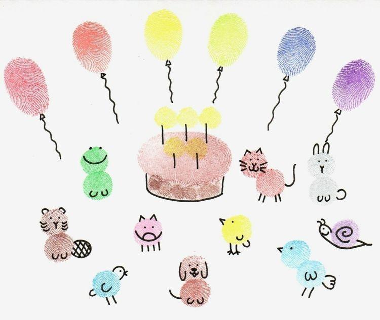 Fingerabdruck Bilder Geburrtstag Tiere Luftballons Hund Katze