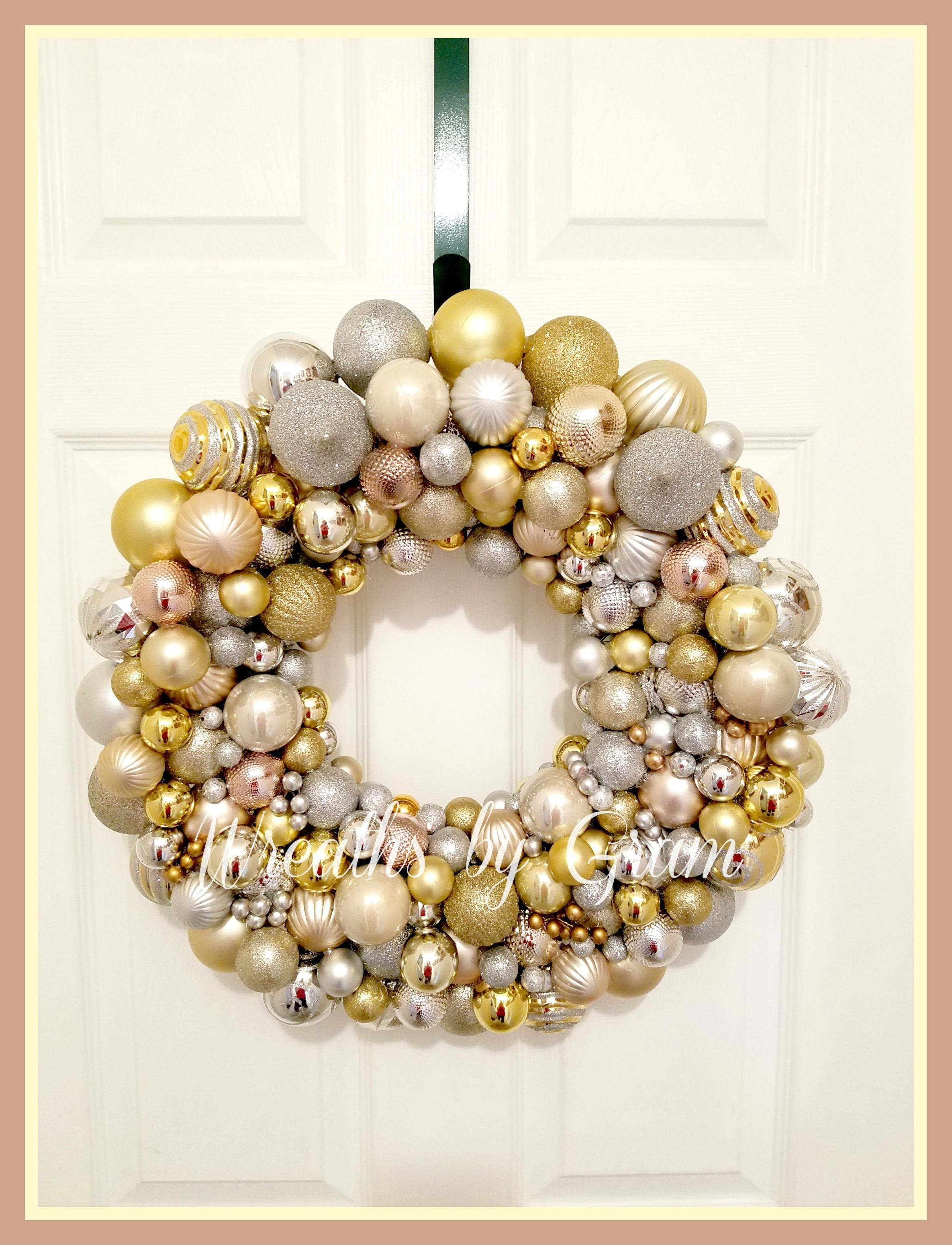 Silver And Gold Ornament Wreath Holiday Decor Christmas Etsy Gold Ornament Wreath Ornament Wreath Christmas Wreaths