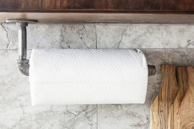 DIY industrial pipe paper towel holder #papertowelholders