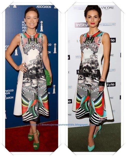 Un vestido de Clover Canyon Resort 2014 se lo vimos a Olivia Wilde en el evento del Hollywood Foreign Press; y después se lo vimos a Kara Tointon en la fiesta Pre-Bafta.