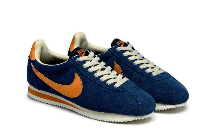 separation shoes b280b bf21b 100% Original Nike Classic Cortez Yoth Mens Deep Blue Orange Sale Shoes