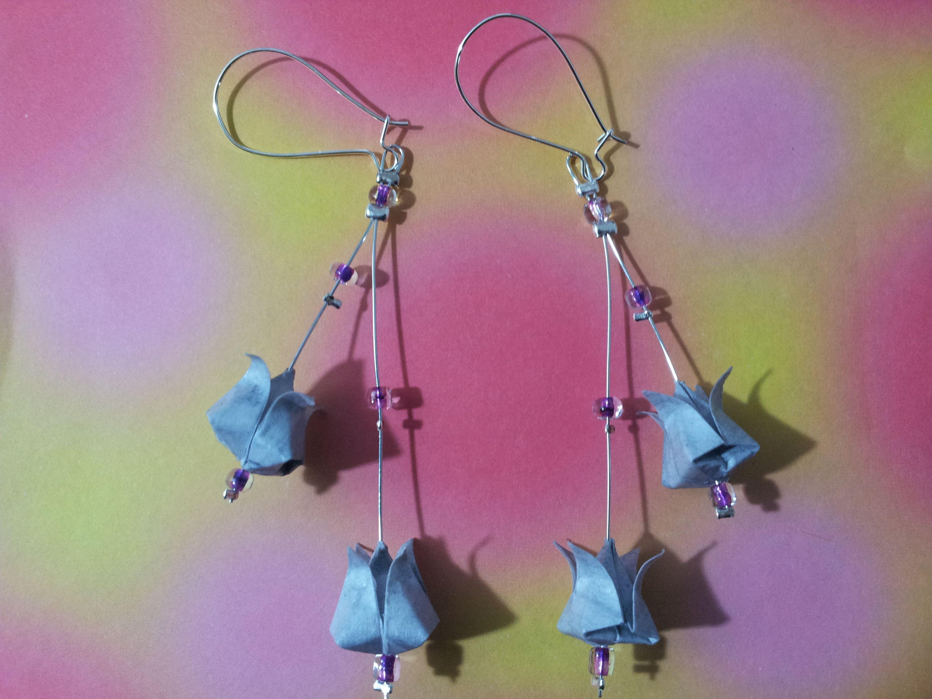 orecchini tulip blu - tecnica origami