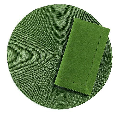 Tag Round Woven Solid Color Placemat And Napkin Set Of 4 Olive Green By Tag 32 28 Wipe Placemats Clean With Damp Cloth Nap Woven Placemats Placemats Woven