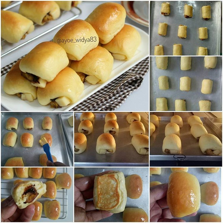 Roti Unyil Pisang Coklat Keju Satu Resep Dibawah Jadi 35 Pcs Roti Unyil Source Resep Dasar Roti Manis Ide Makanan Resep Makanan