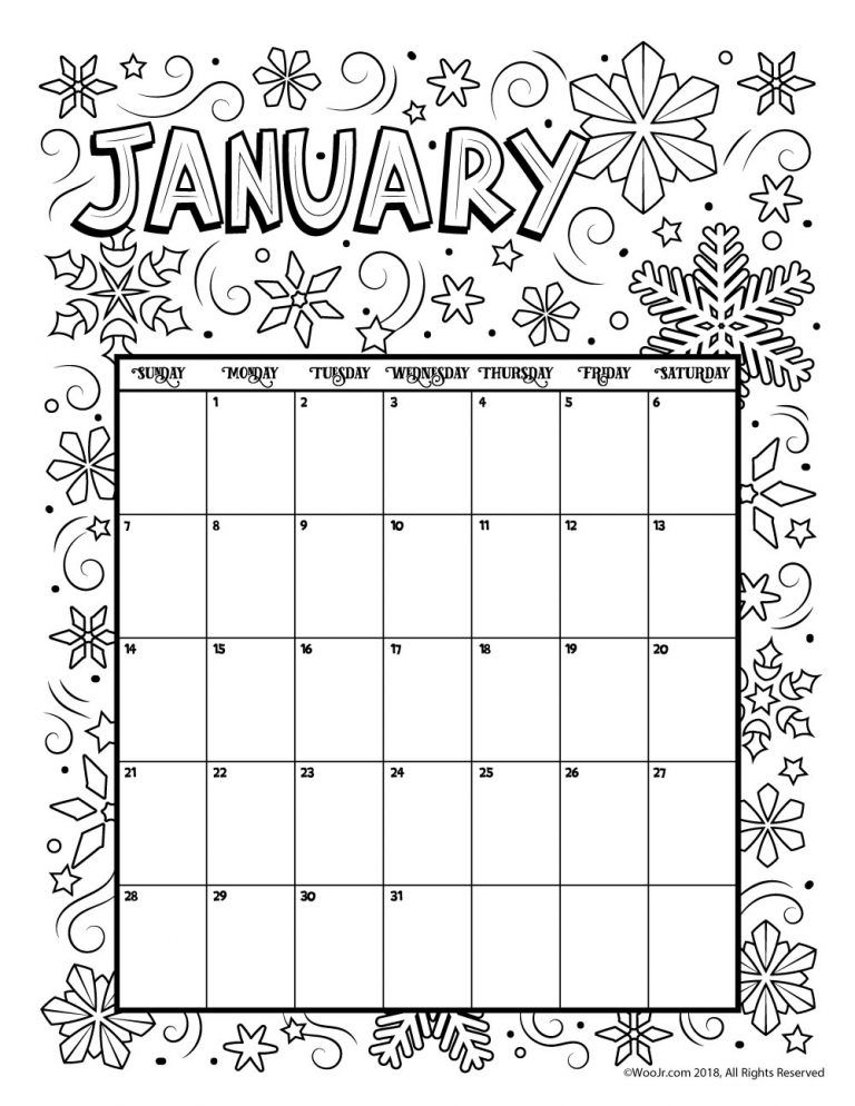 Printable Coloring Calendar For 2021 (and 2020!) Woo! Jr. Kids Activities  Coloring Calendar, Calendar Pages, Kids Calendar