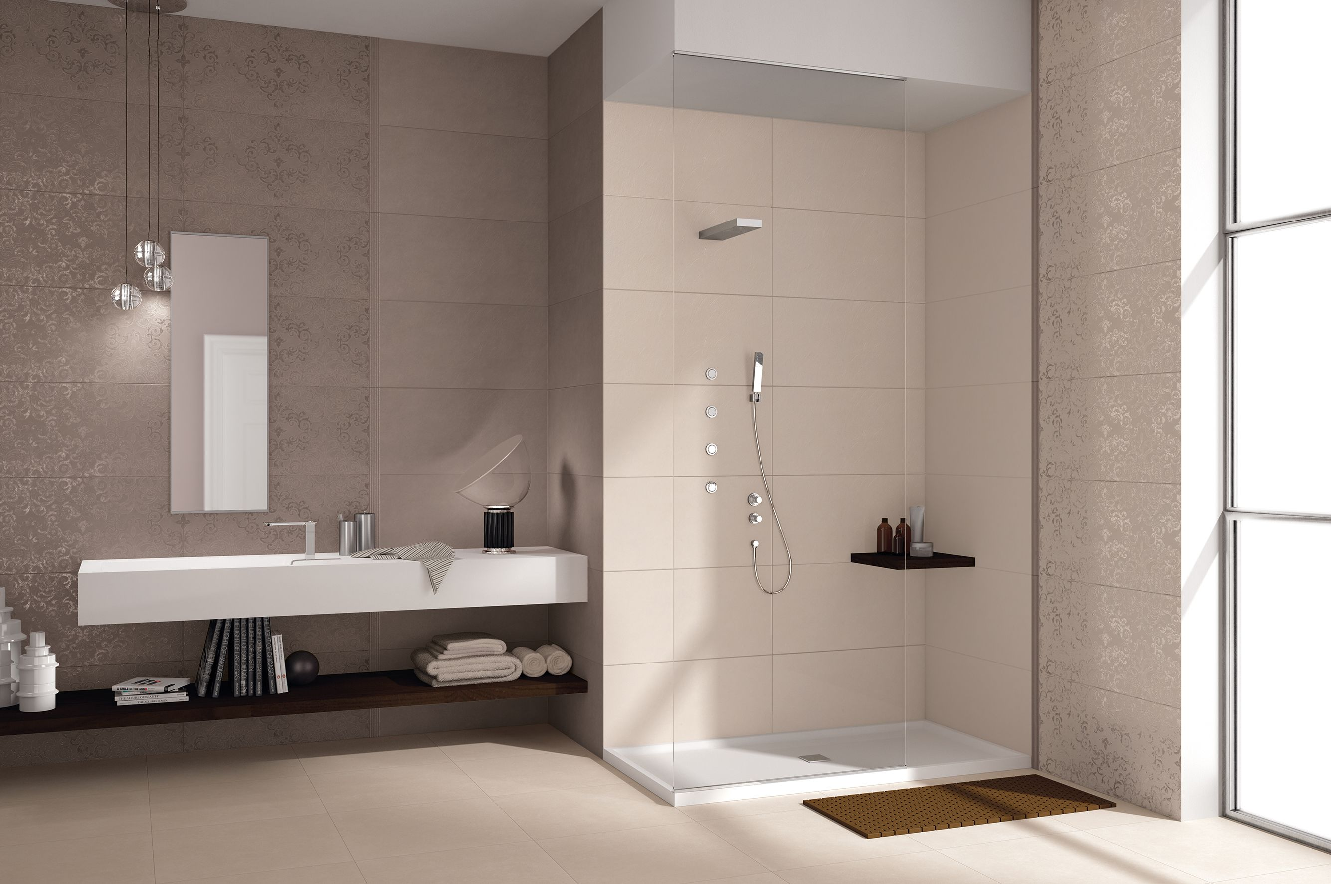Questo bagno è stato realizzato con il colore Umber Ivory decoro damasco della nostra collezione da rivestimento Visual Design.  http://www.supergres.com/your-home/rivestimenti/item/925-visual  #Bathroom #RivestimentoBagni #WallTiles #CeramisOfItaly