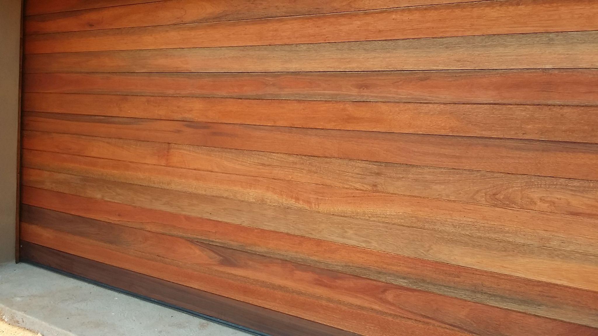 Supply and fit horizontally slatted wooden meranti garage door ...