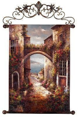 Italian Oil Painted Tapestry Western Decor Tuscan Art Design Wall