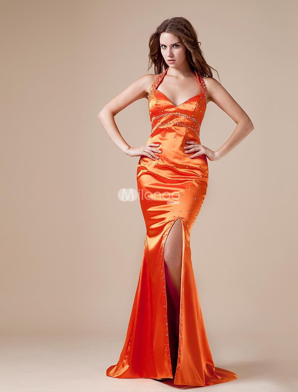 Orange Spaghetti Floor Length Eastic Woven Satin Prom Dress. Orange Spaghetti Floor Length Eastic Woven Satin Prom Dress. See More Colorful Prom at http://www.ourgreatshop.com/Colorful-Prom-C945.aspx