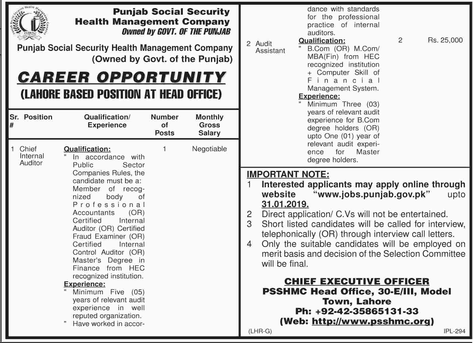 Jobs in Punjab Social Security Health Management Company 2019